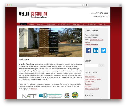Customized template WordPress - wellerconsulting.com