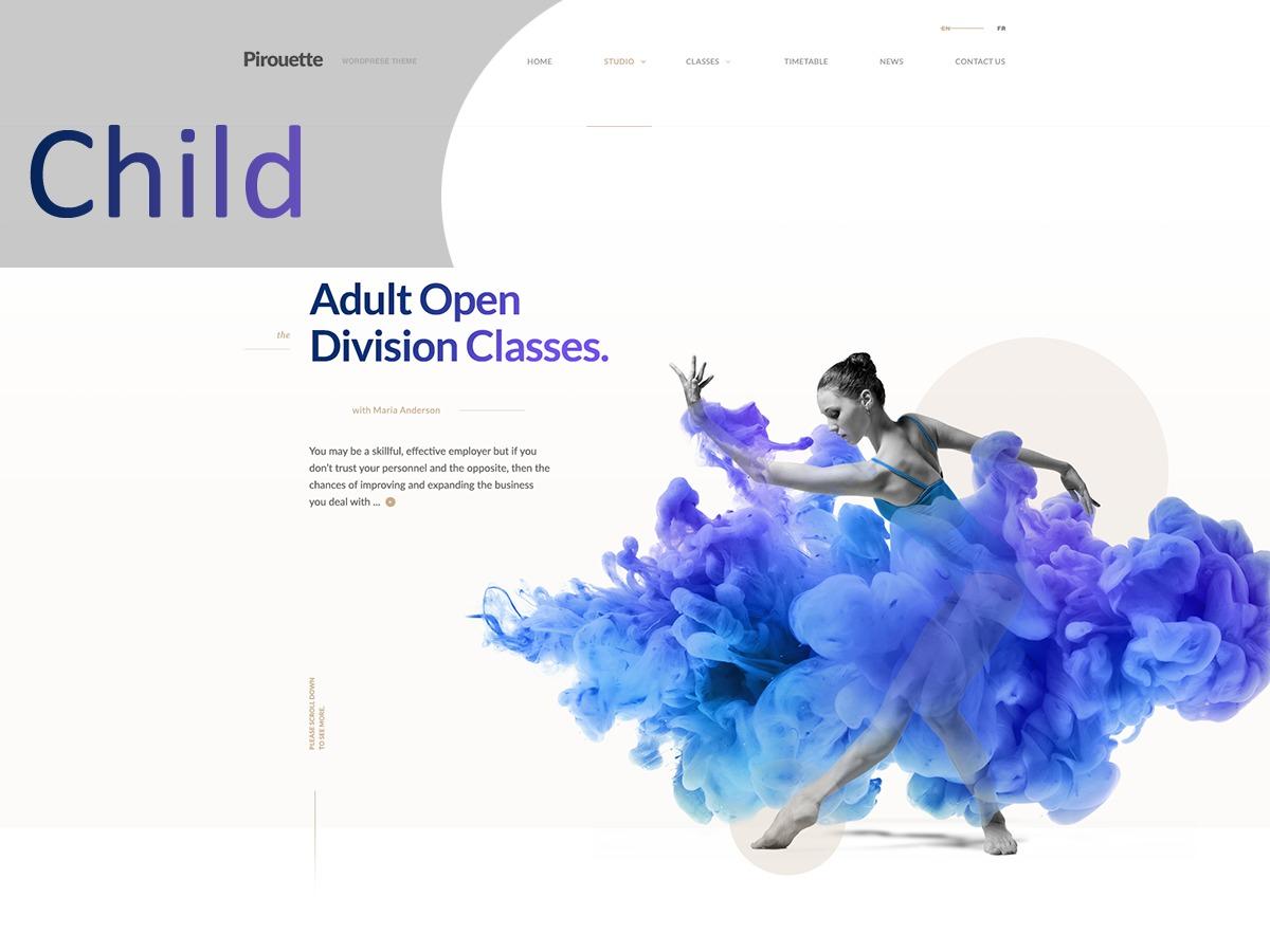 Pirouette Child WordPress theme