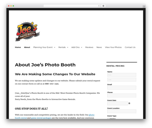 Twenty Sixteen free WP theme - joesphotobooth.com