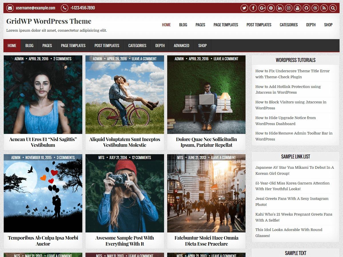 GridWP WordPress news template