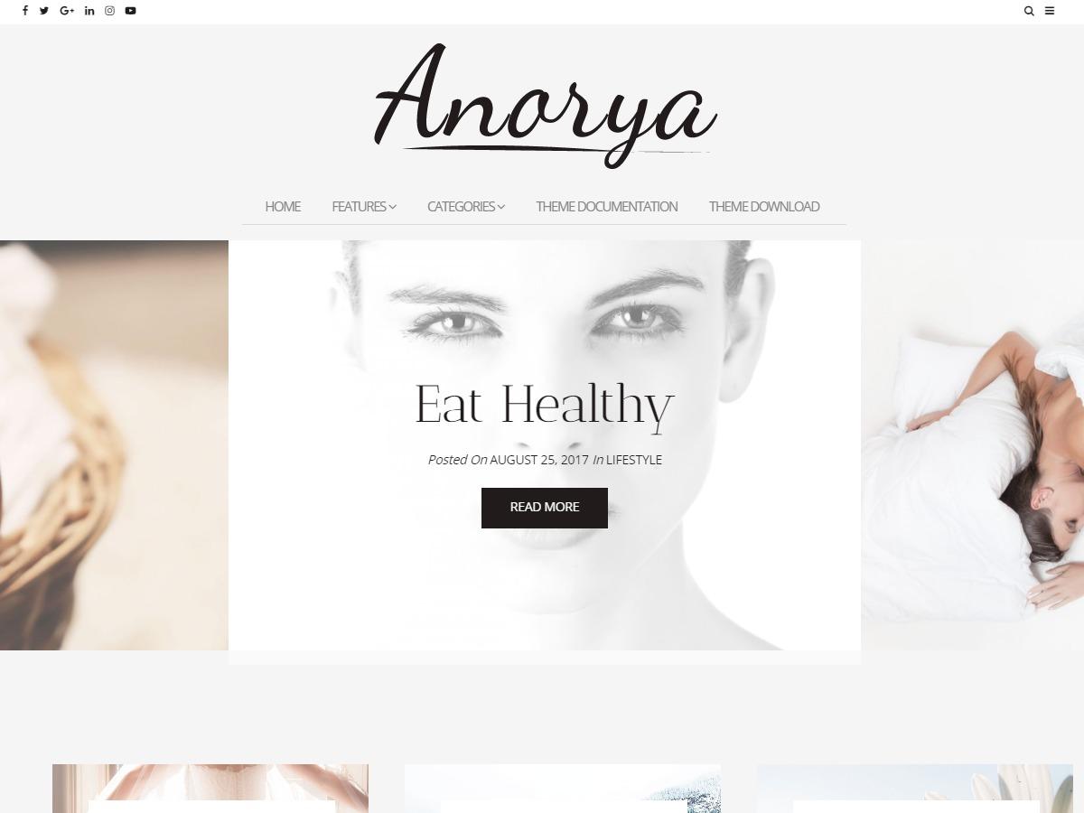 Anorya WordPress blog template