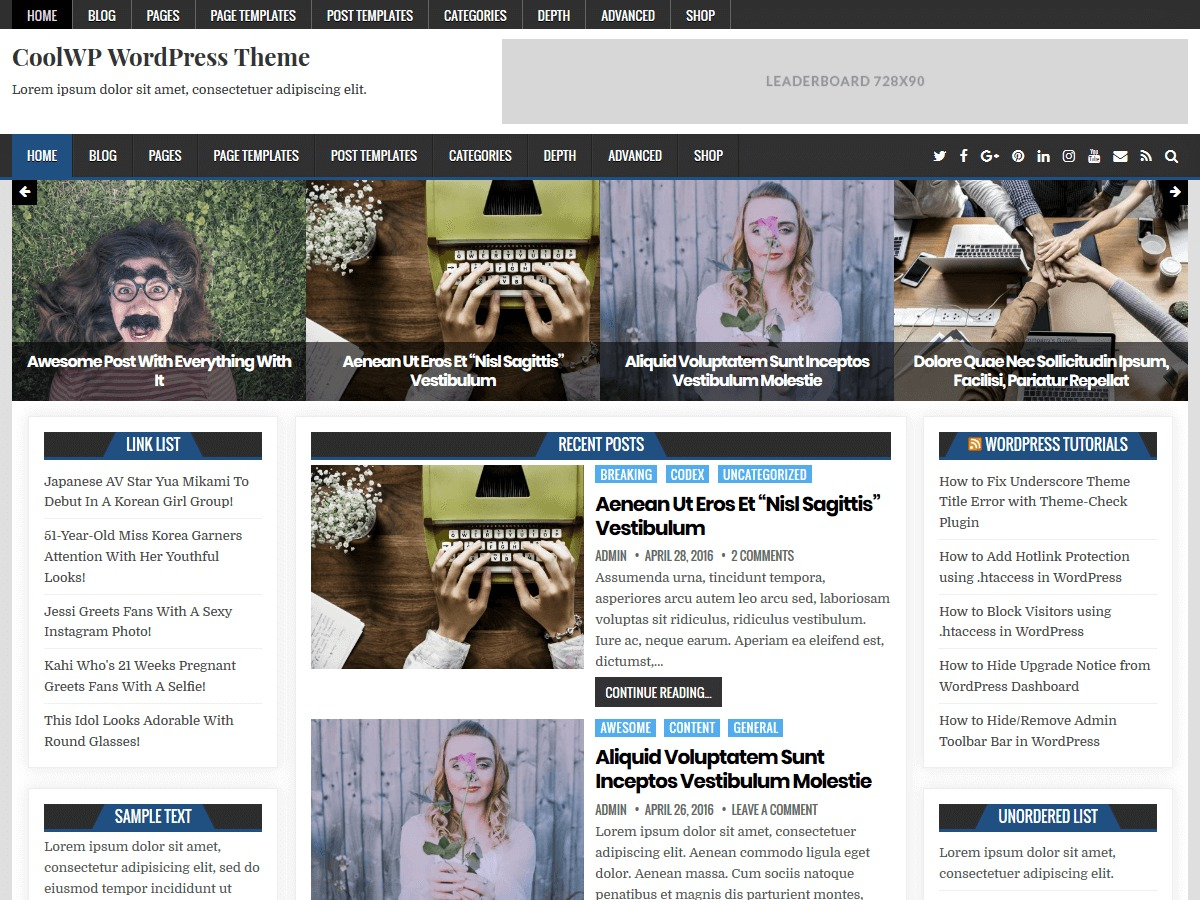 CoolWP WordPress blog template