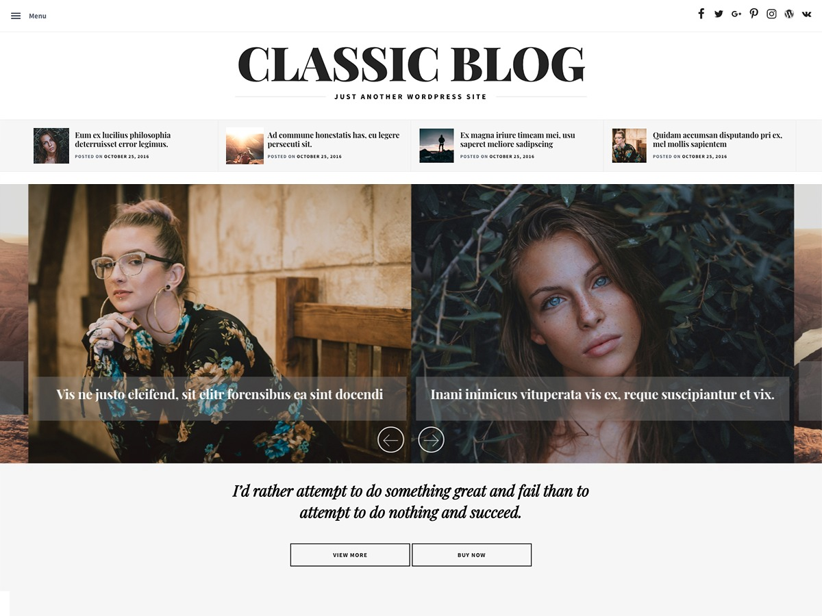 Classic Blog WordPress blog template