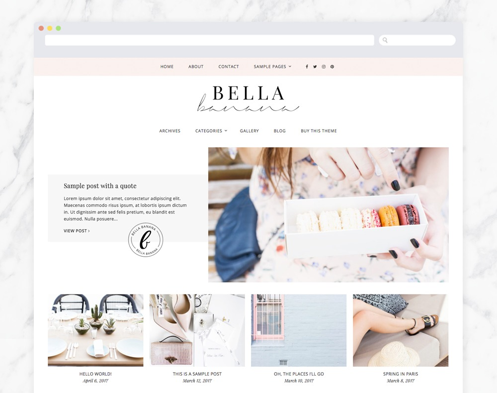 Bella Banana for Genesis WordPress page template
