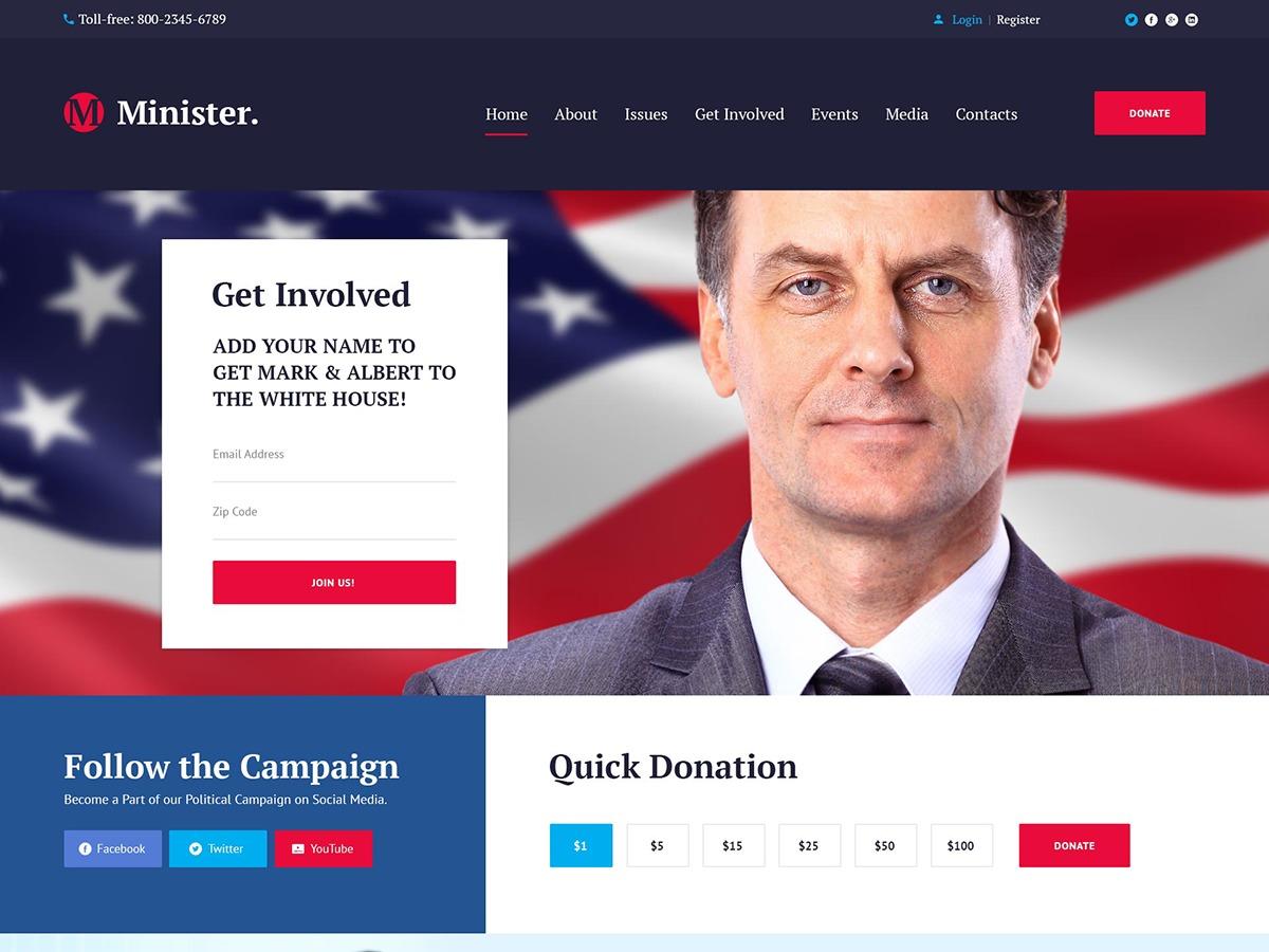 WordPress website template Minister