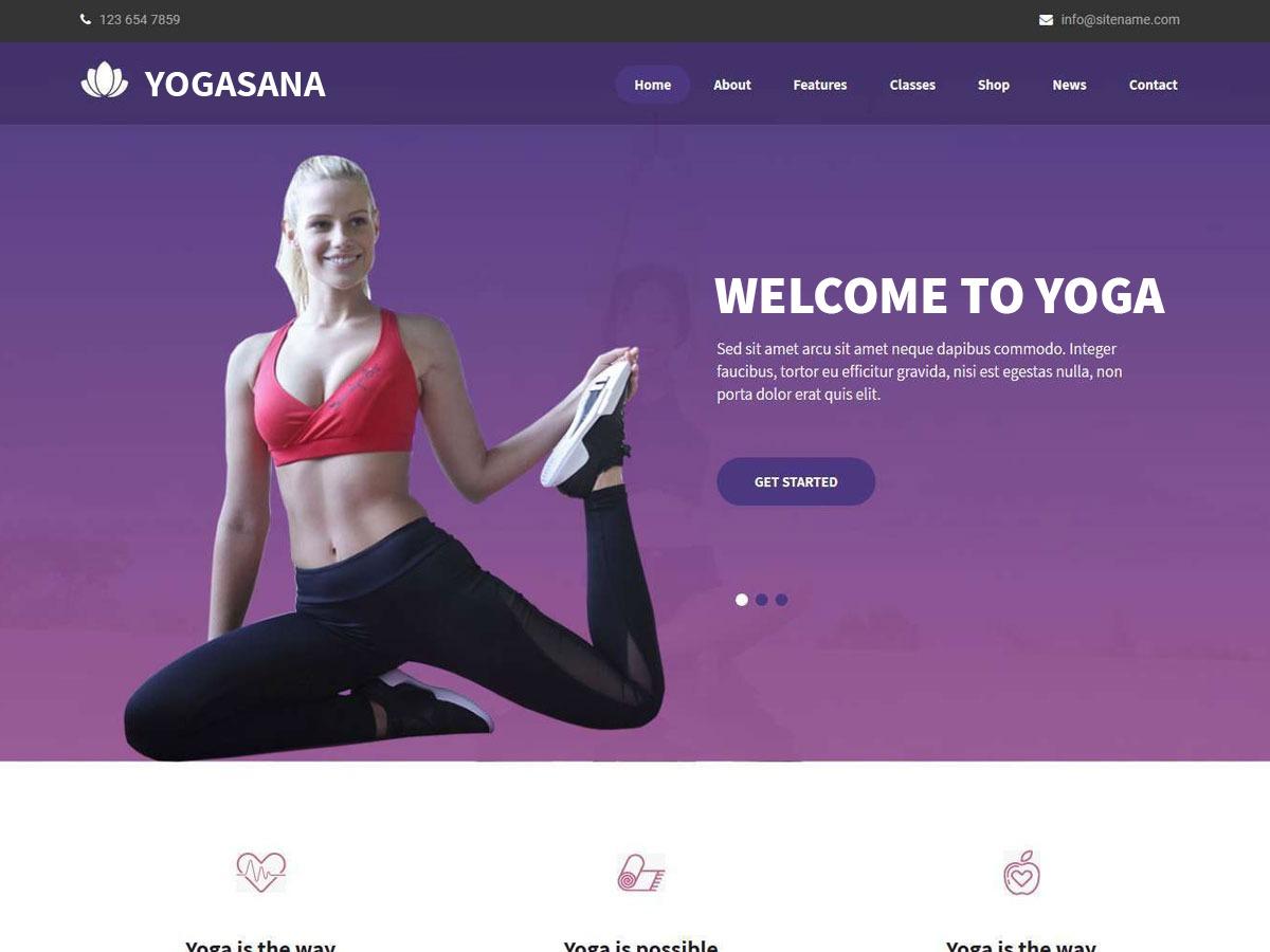 Yogasana Lite gym WordPress theme