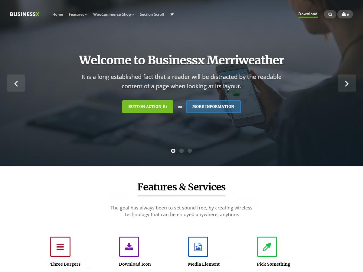 Businessx Merriweather WordPress store theme