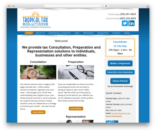 Customized best WordPress template - tropicaltax.com
