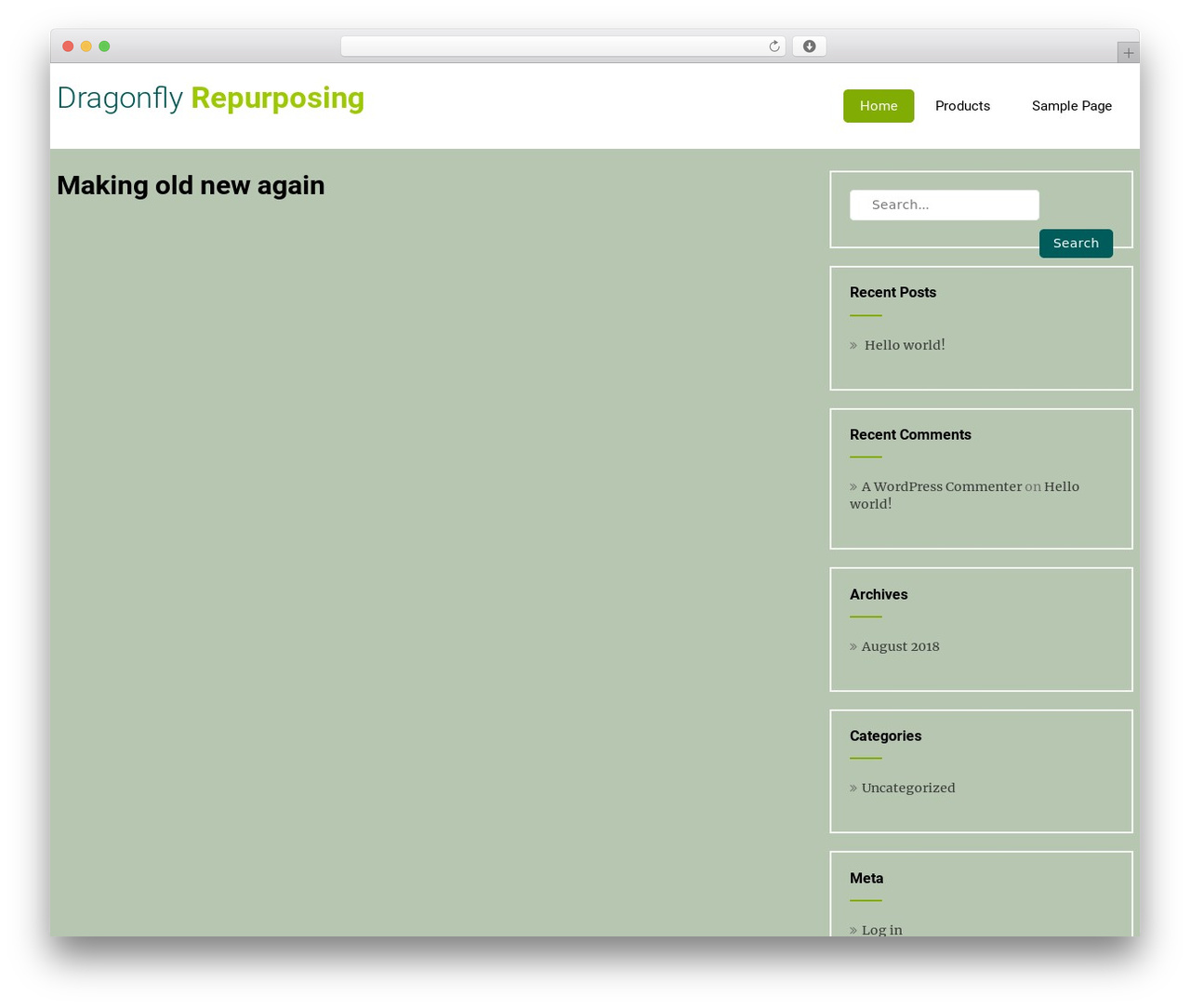 WordPress theme Eco Friendly Lite - dragonflyrepurposing.com
