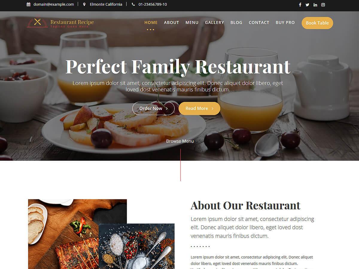 Restaurant Recipe best restaurant WordPress theme