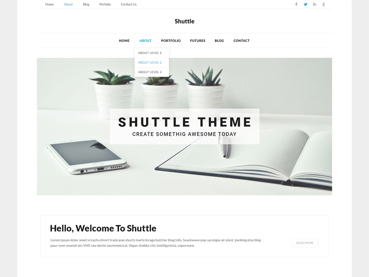Shuttle Corporate WordPress store theme