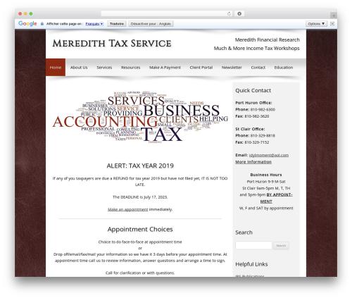 Customized business WordPress theme - meredithtax.com
