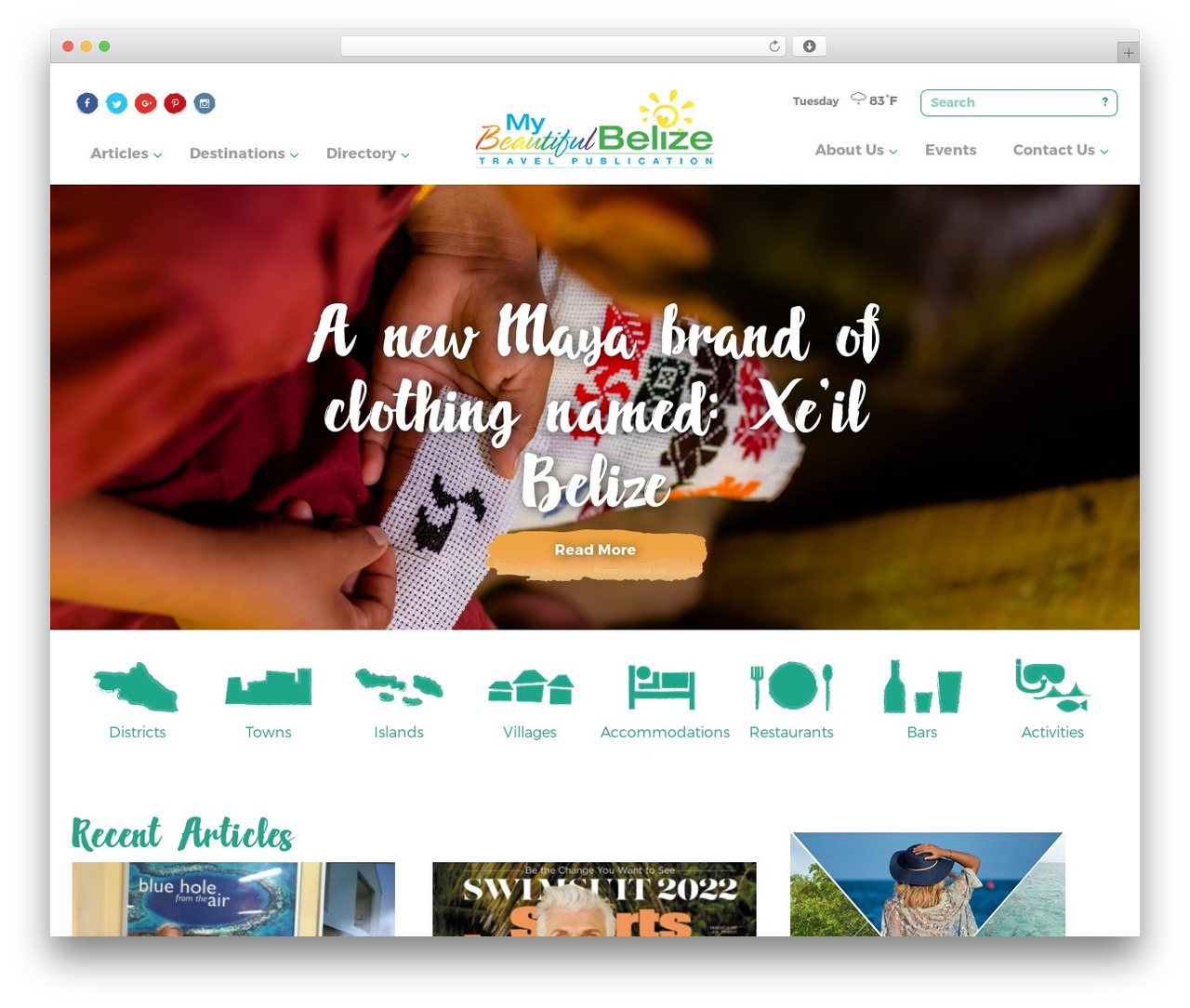 WordPress website template My Beautiful Belize 2016 - mybeautifulbelize.com