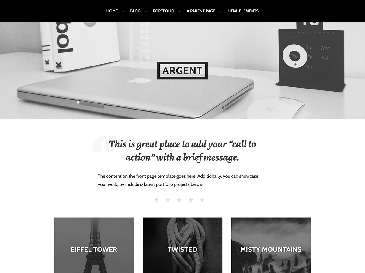 Argent Child template WordPress