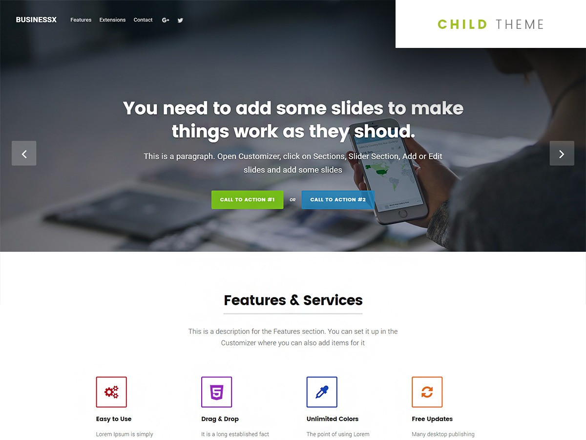 Businessx Child company WordPress theme