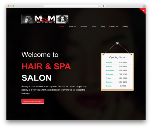 haircare WordPress theme - mandmhairandbeauty.com