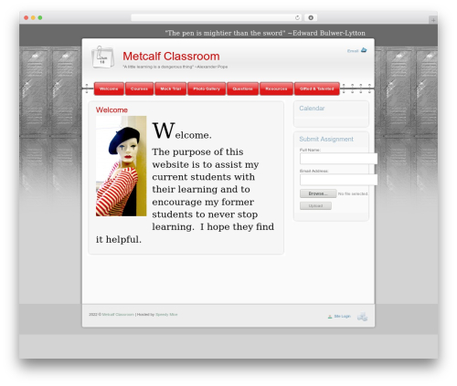 WP theme Modern Notepad - metcalfclassroom.com