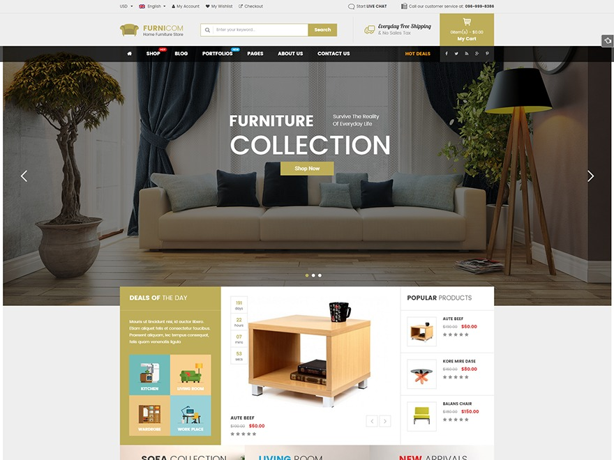 Furnicom WordPress shop theme