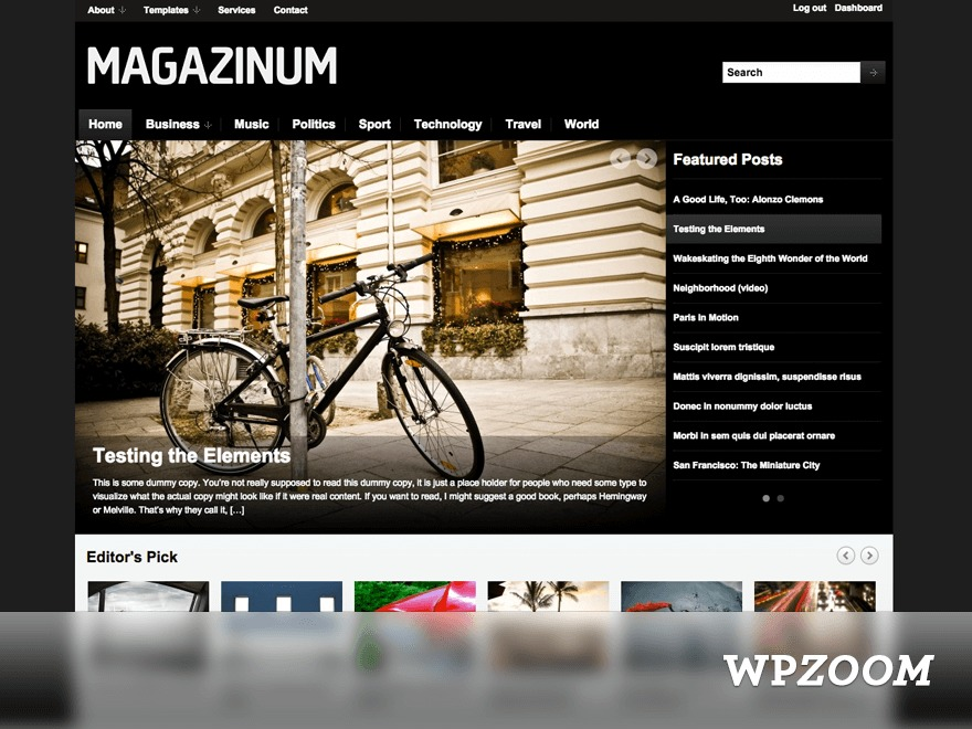 Magazinum WordPress theme design