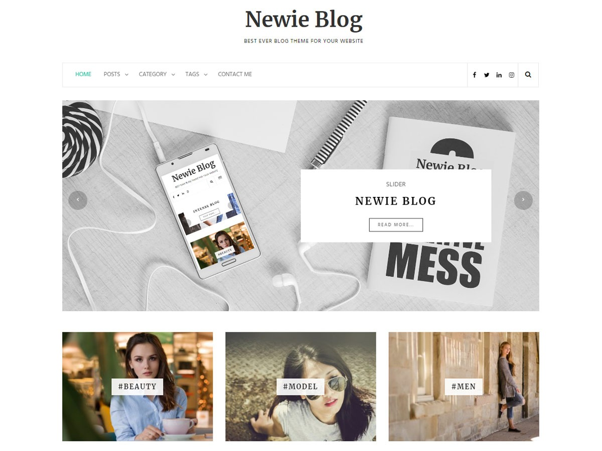 Newie WordPress blog template
