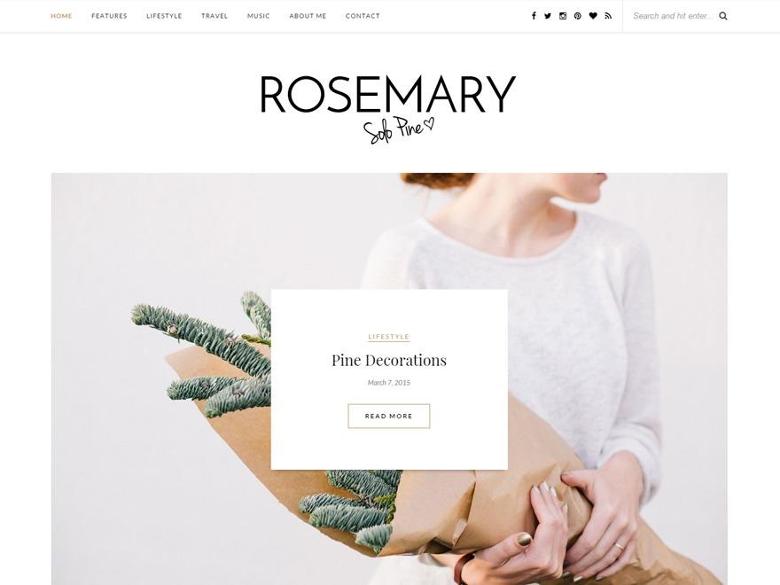 Rosemary for blogs WordPress blog template