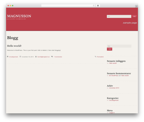 WordPress theme Uniqueness Red - magnusson-group.com