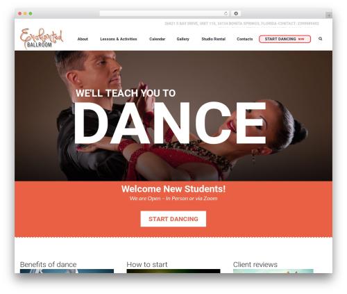 Dance Studio WordPress wedding theme - theenchantedballroom.com
