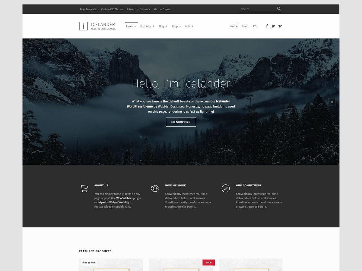 Icelander best portfolio WordPress theme