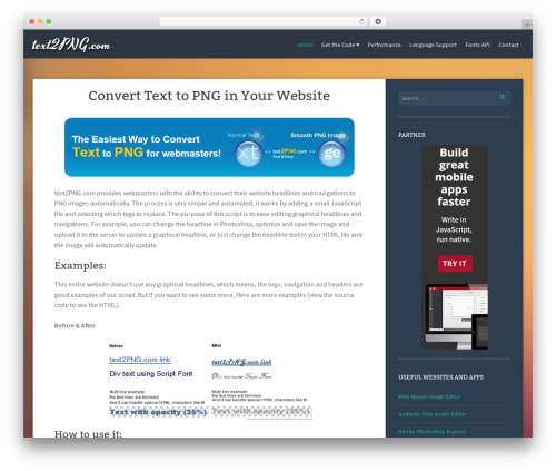 WP theme Story - text2png.com
