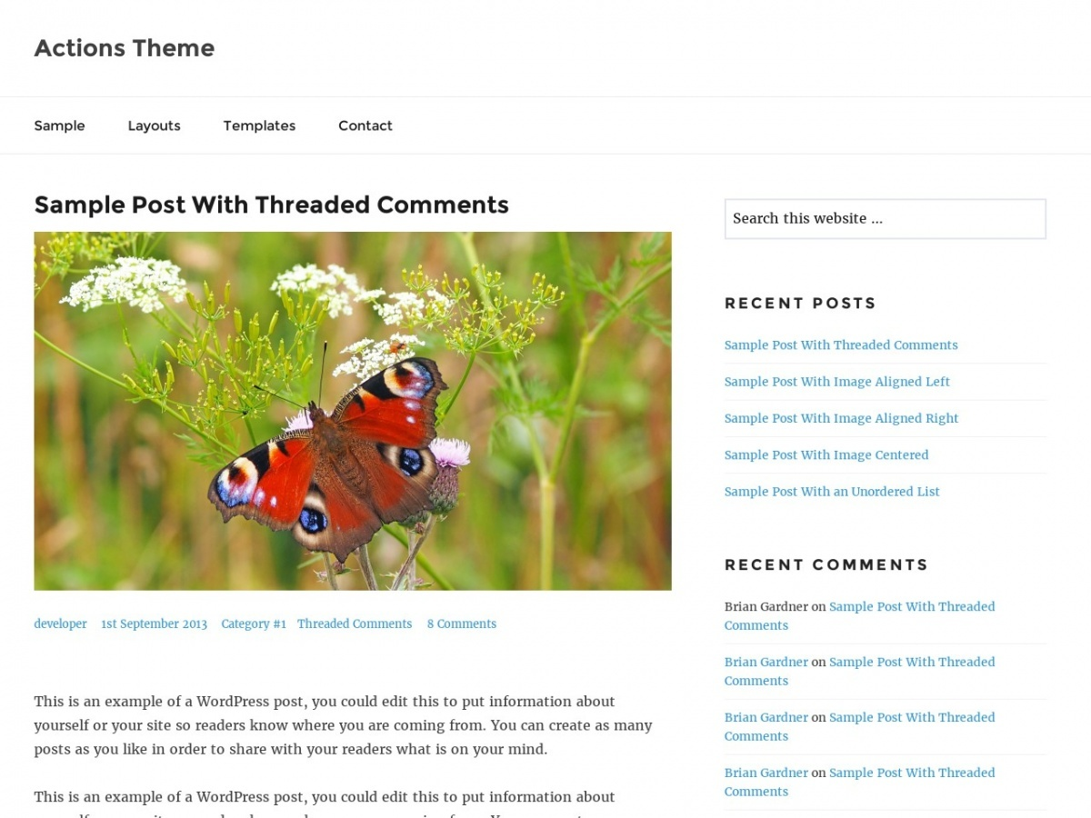 Actions free website theme
