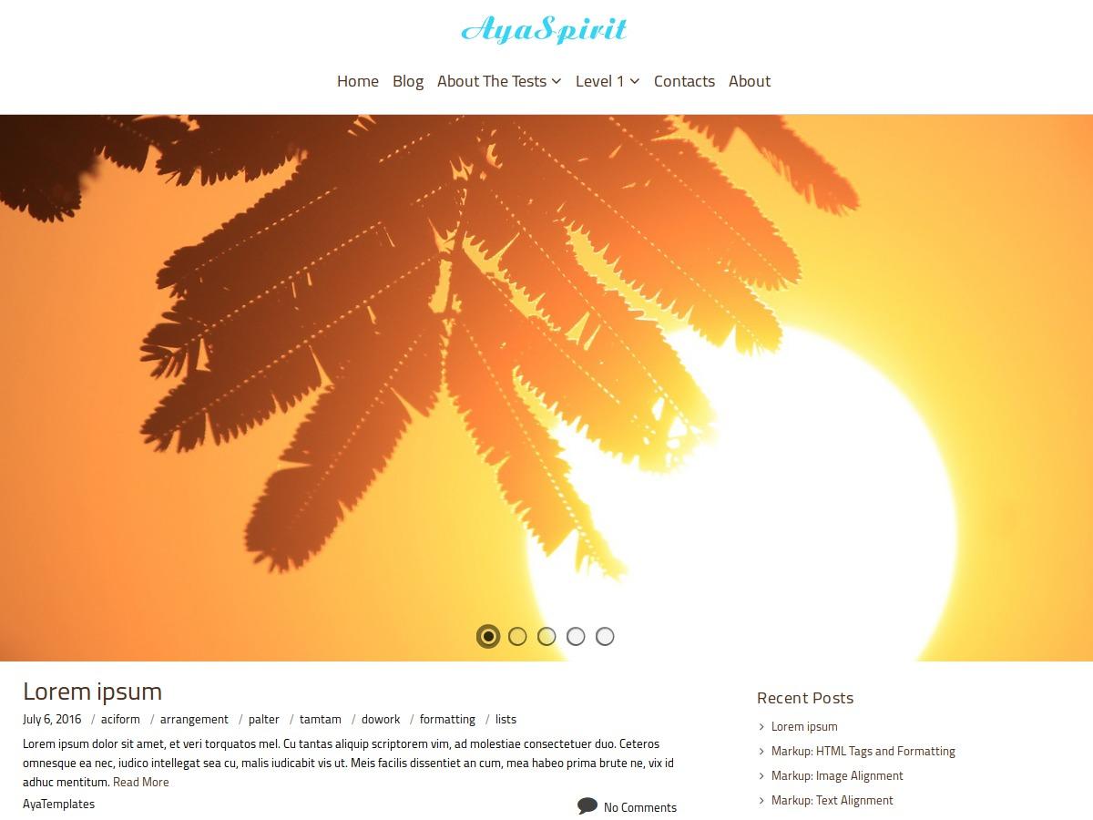 AyaSpirit WordPress template free download