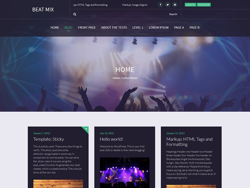 Beat Mix Lite WordPress blog template