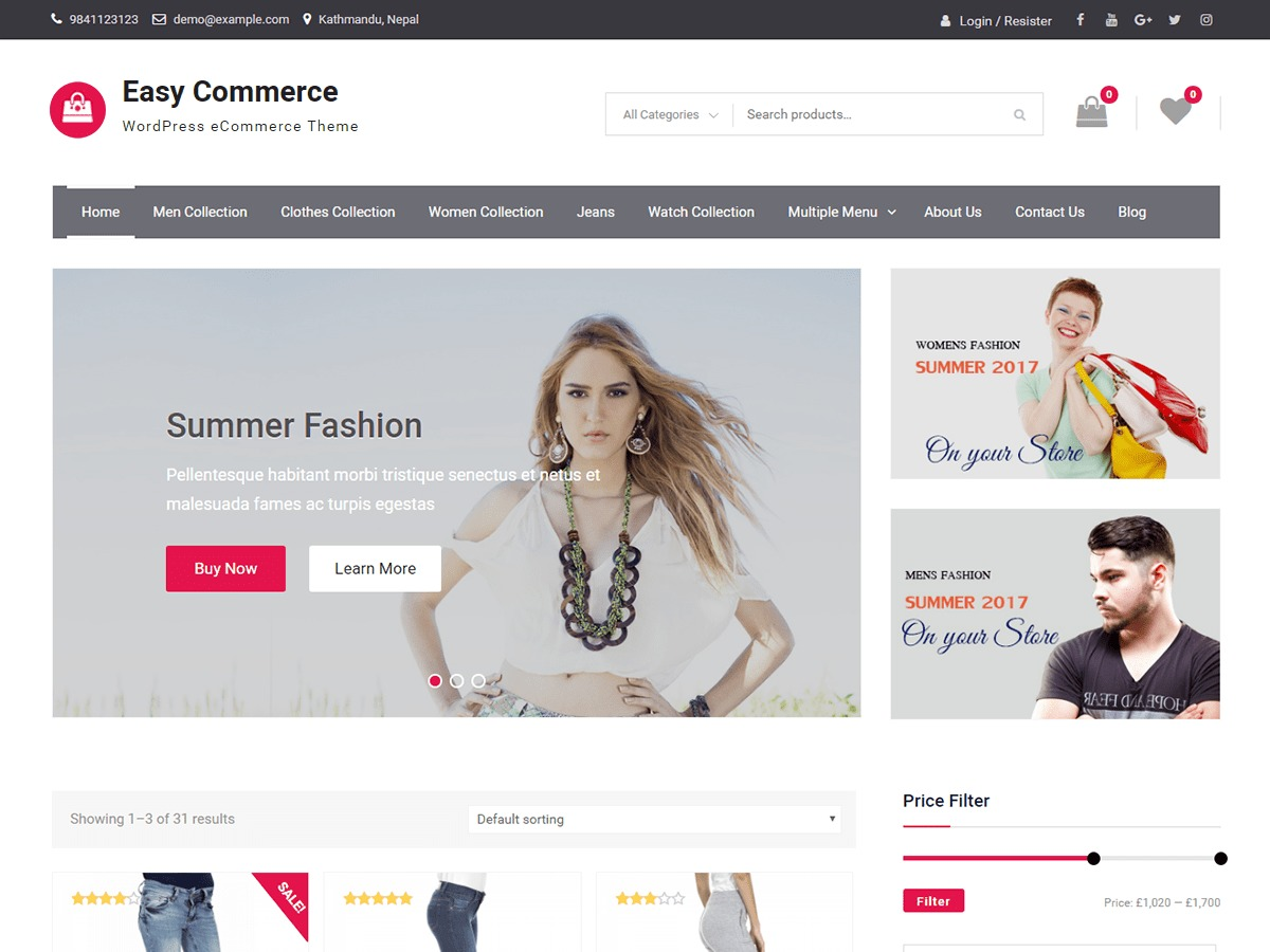 Easy Commerce WordPress theme download