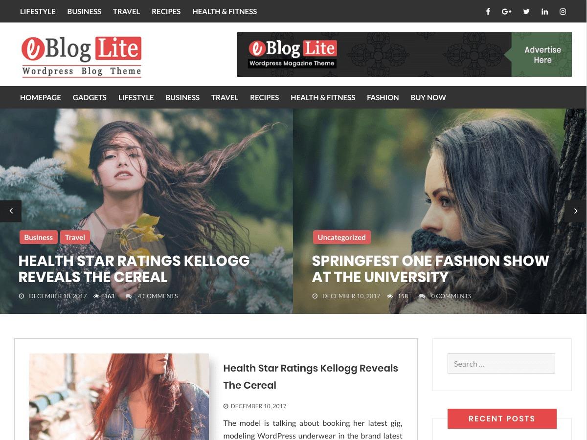 eBlog Lite theme WordPress free