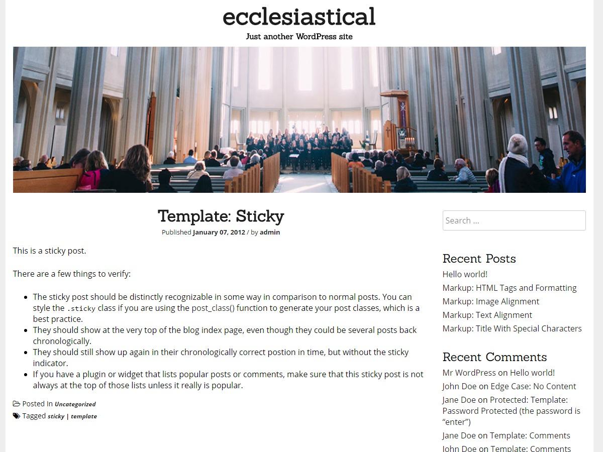 Ecclesiastical WordPress theme free download