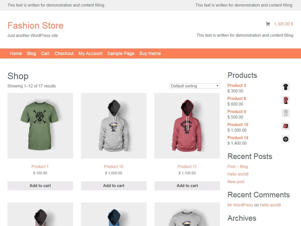 Fashion Store lite best free WordPress theme