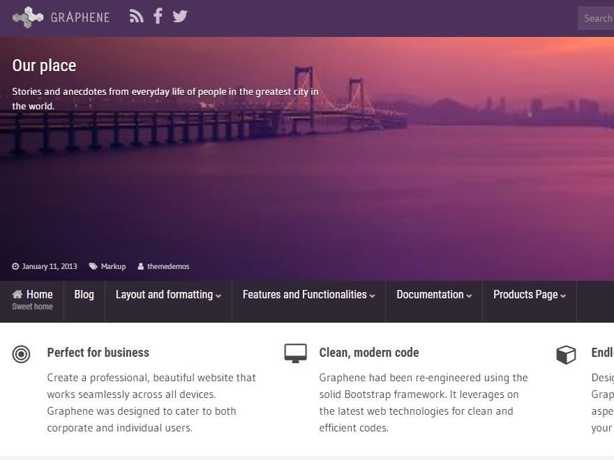 Graphene WordPress theme design