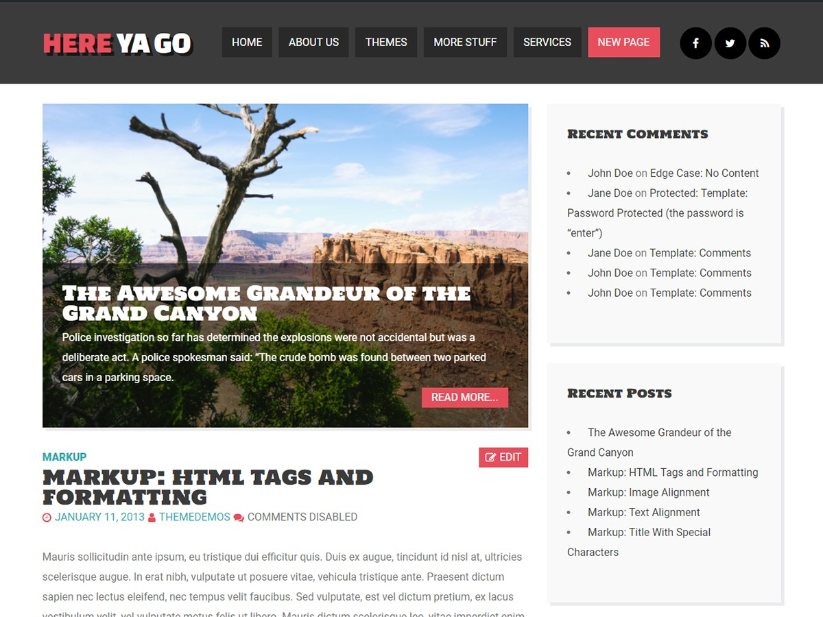 Here Ya Go theme WordPress free