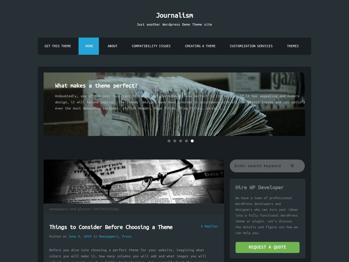 Journalism WordPress theme free download