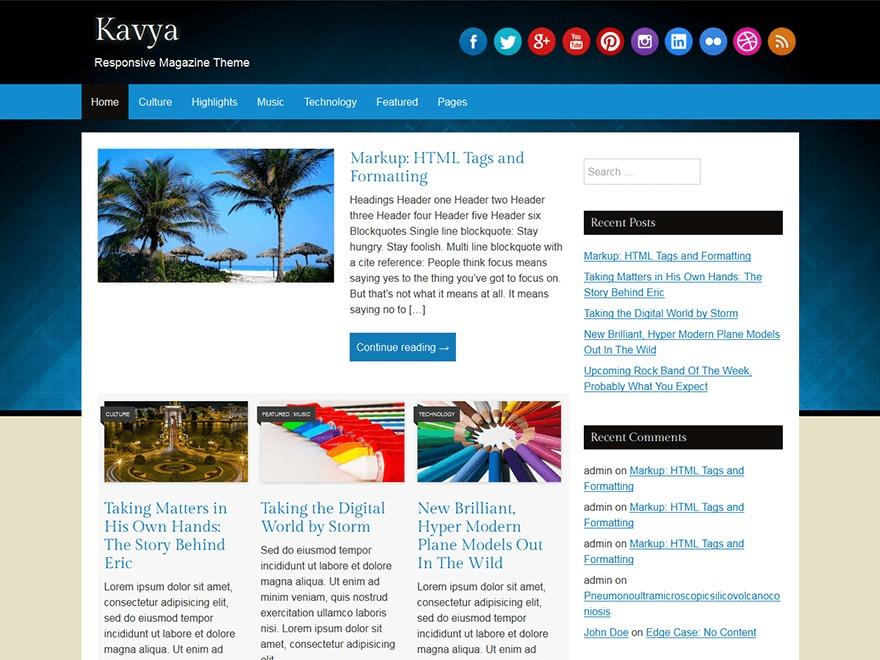 Kavya WordPress blog theme