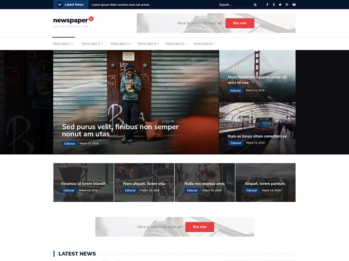 Newspaper X free WordPress theme