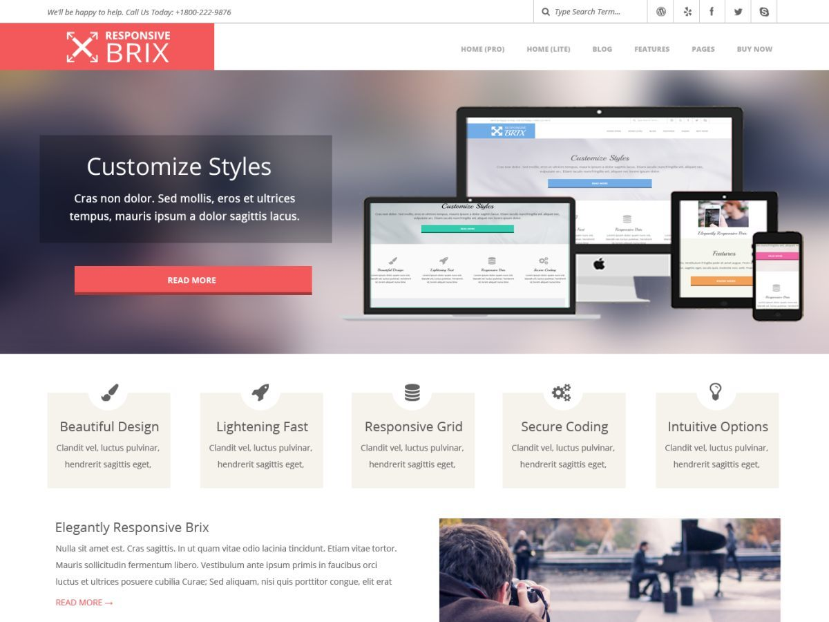 Responsive Brix Premium photography WordPress theme