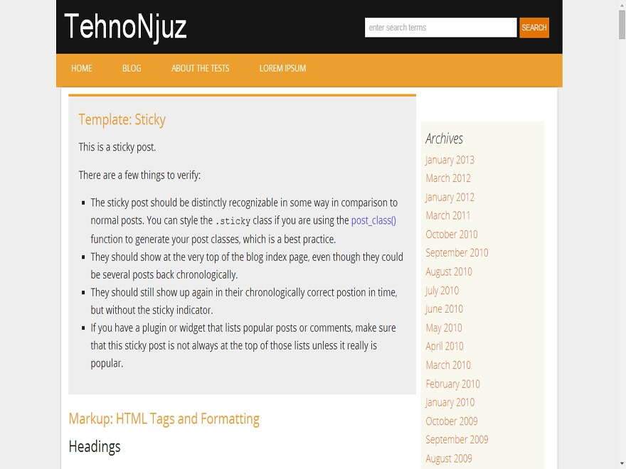 TehnoNjuz WordPress blog template
