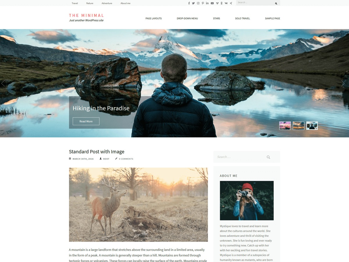 The Minimal WordPress template free
