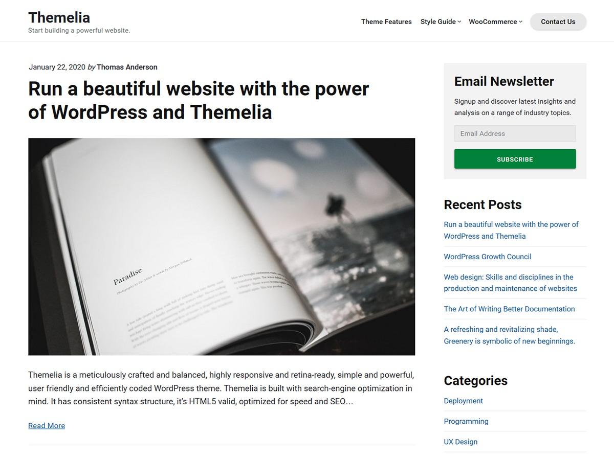Themelia WordPress template free download