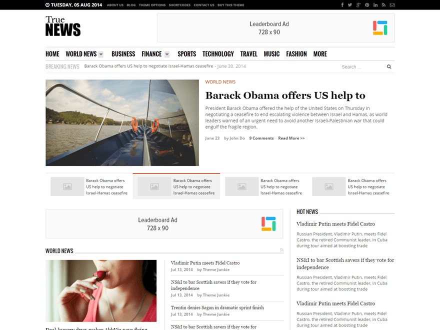 TrueNews WordPress magazine theme