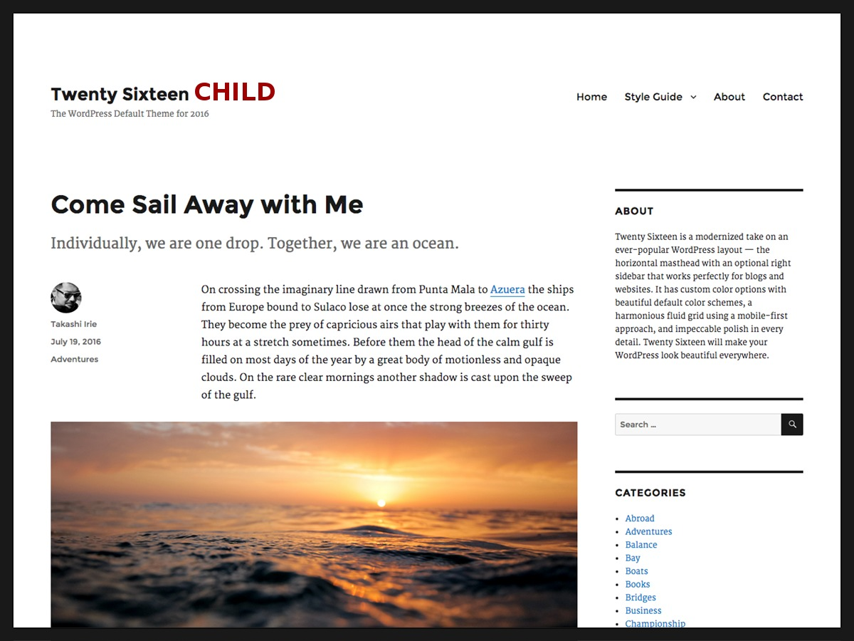 Twentysixteen Child WordPress theme design
