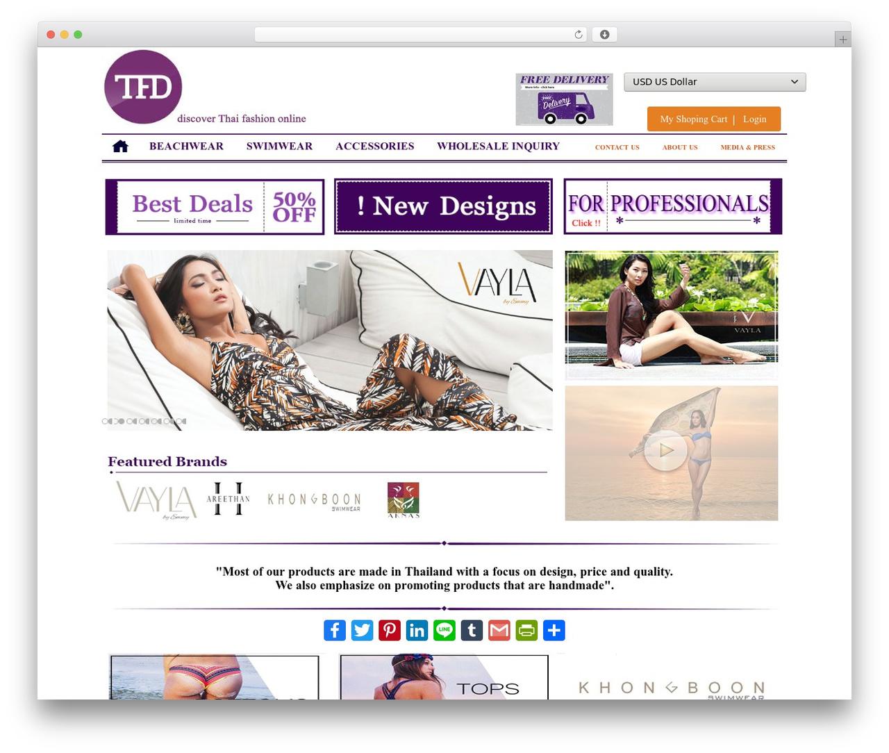 Best WordPress template Thai Fashion Design - thaifashiondesign.com