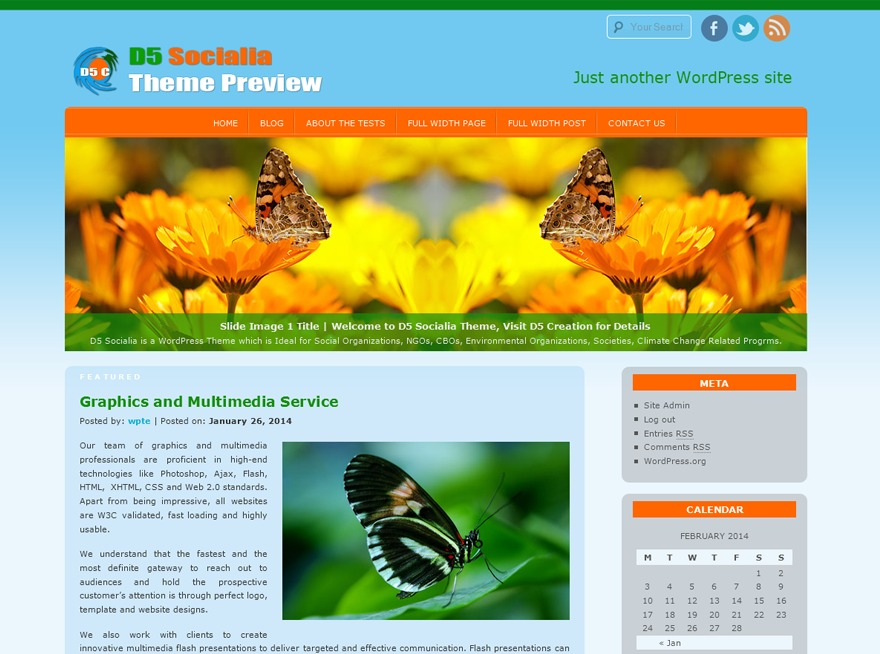 D5 Socialia WordPress template for business