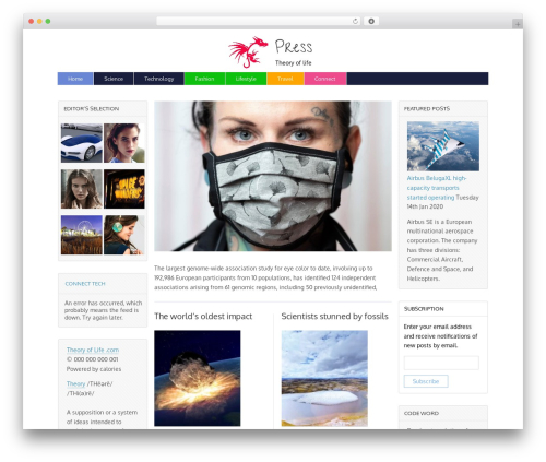 Magazine Basic WordPress template free - theoryoflife.com